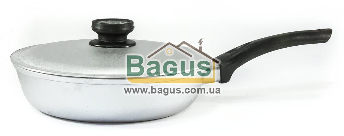 Сковорода алюминиевая 22см с ровным дном, бакелитовой ручкой и крышкой Биол (A223)