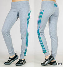 """Спортивні штани жіночі """"Три лампаса"""" на манжеті (світло-сірі)"""