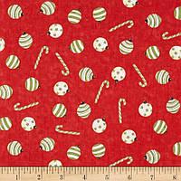 """Ткань для пэчворка и рукоделия американский хлопок НГ """"Шары и карамель на красном"""" - 24*55 см"""