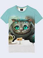 Оригинальная мужская 3D-футболка Cheshire Cat Tea Party (Чеширский Кот) с принтом сказочного персонажа.