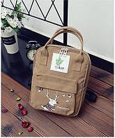 Сумка-рюкзак для города с модным принтом оленя коричневый большой