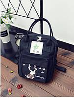 Сумка-рюкзак для города с модным принтом оленя черный большой