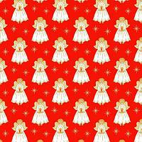 """Ткань для пэчворка и рукоделия американский хлопок """"Ангелы на красном"""", ЗОЛОТОЕ напыление - 24*55 см"""