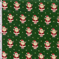 """Ткань для пэчворка американский хлопок НГ """"Дед Морозы на зеленом"""", ЗОЛОТОЕ напыление - 47*55 см"""