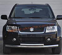 Защита переднего бампера труба двойная из нержавейки на Suzuki Grand Vitara 2006-2015