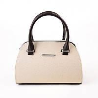 Бежевая сумочка М70-64/40 женская в форме саквояжа деловая коричневые вставки
