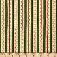 """Ткань для пэчворка и рукоделия американский хлопок """"Полосы беж на зеленом"""" - 22*55 см"""