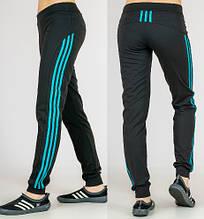 """Спортивні штани жіночі """"Три лампаса"""" на манжеті (чорний)"""