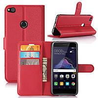 Чехол Huawei P8 Lite 2017 / P9 Lite 2017 / PRA-LX1 / Honor 8 Lite книжка PU-Кожа красный