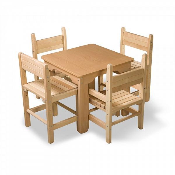 Детский деревянный столик и 4 стула, сосновый комплект