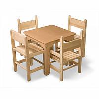 Детский деревянный столик и 4 стула сосновый комплект