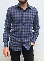 Рубашка мужская приталенная синяя в клетку с длинными рукавами из кашемира ВЕСНА