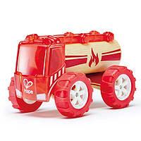 """Детская  деревянная игрушка  каталка  машинка из бамбука """"Fire truck"""""""