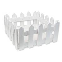 Деревянное кашпо - Забор квадратный большой, цвет белый, 18x18 см, высота 8,5 см, 1 шт
