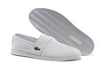 Мокасины  мужские Lacoste Slip-On White  (лакост) белые