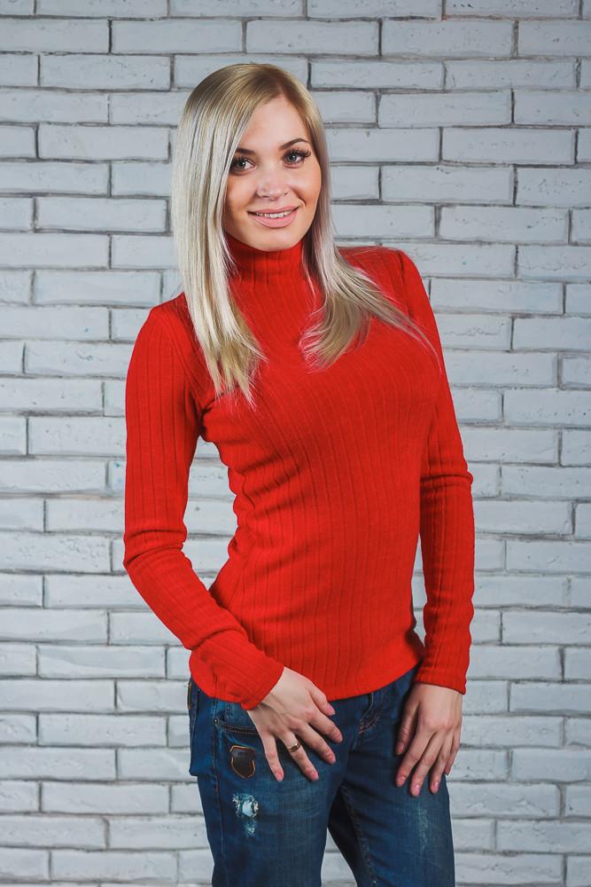 Водолазка женская шерсть-рубчик красная