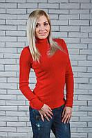 Водолазка женская шерсть-рубчик красная, фото 1