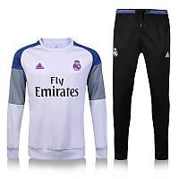 Тренировочный костюм Реал Мадрид, Адидас, белая олимпийка, черные зауженные штаны, к42
