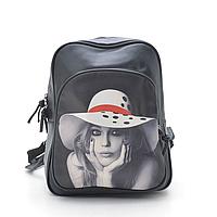 Женский рюкзак с фоторисунком девушка в шляпе
