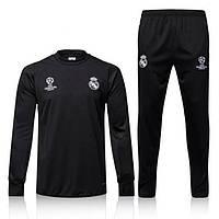 Тренировочный костюм Реал Мадрид, Адидас, черная олимпийка, черные зауженные штаны, к43