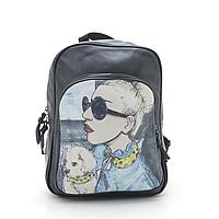 Женский рюкзак с фоторисунком блондинка с собачкой