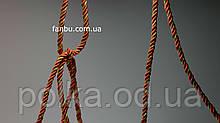 Декоративный витой шнур красный с золотом, ширина 5мм (1моток-100ярдов)