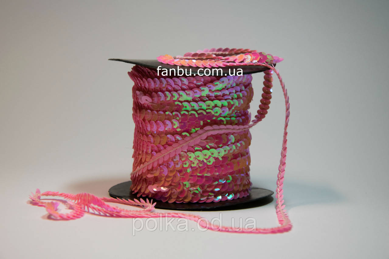 Декоративная тесьма с пайетками, ширина 6мм, цвет ярко розовый галограмма (1моток=46м)