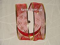 Красная новогодняя лента органза для бантов с проволочным краем(ширина 5 см)