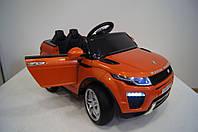 Детский электромобиль Джип КХ1313 Land Rover сиденье кожа, колёса EVA резина, дитячий електромобіль, оранжевый