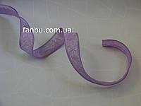 Жатая лента для бантов с проволочным краем,цвет светло-фиолетовый(ширина 4 см)1рулон-10ярдов