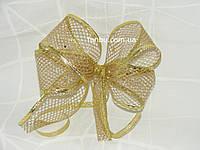 """Золотая лента""""сетка"""" для бантов с проволочным краем(ширина 3.8 см)1 рулон-45м"""
