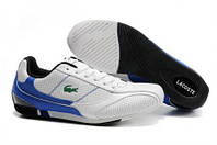 Мокасины  мужские Lacoste Running Shoes Blue White  (лакост) белые