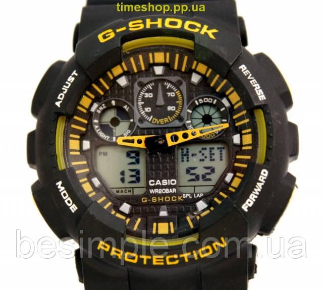 Супер цена! Часы Casio G-Shock GA100 чорный с желтым - BeSimple в Львове