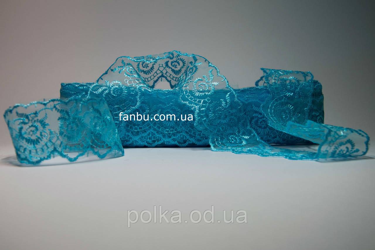 """Мереживо """"Яблучко"""" блакитне, ширина 4 см(1упаковка-10ярдов)"""