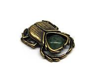 Сувенир Скарабей бронза с нефритом