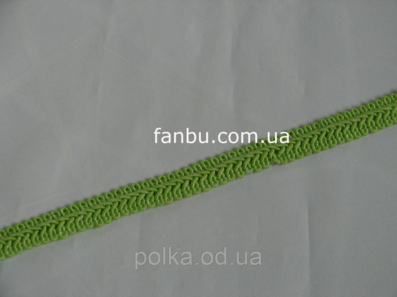 """Цветная тесьма """"косичка"""" ярко салатовая, ширина 1.3см (1 уп-50 метров)"""