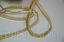 """Золотая тесьма """"шанель узкая""""металлизированная, ширина 0.7см(1 рулон 40 ярдов)"""