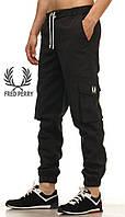 Летние мужские штаны карго Fred Perry - Black (Черный) (Опт и розница)