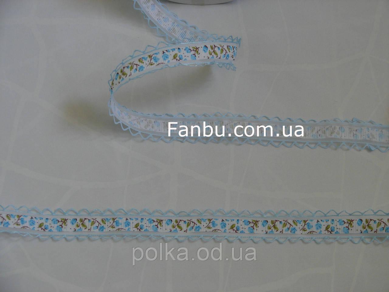 "Лента с рисунком ""тюльпаны"",цвет голубой, ширина 2.7 см, 1моток=23м"