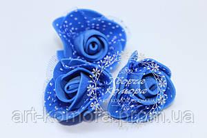 Головки розы латексные с фатином синие, 3,5 см