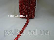 """Красная тесьма """"широкая волна-зигзаг""""металлизированная, ширина 2см"""