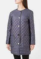 Женское стеганое пальто кокон серое DASTI