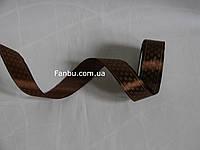 """Лента атласная коричневая с рисунком""""крючки"""" (ширина 2.5см"""