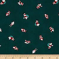 """Ткань для пэчворка и рукоделия американский хлопок """"Дед Морозы на зеленом"""" - 23*55 см"""