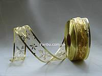 Золотая лента органза для бантов с проволочным краем, шириной 3,8 см (1 рулон - 50 ярдов)