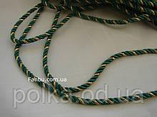 Витой шнур темно-зеленый с золотом ширина 5мм(1 иоток-100ярдов)