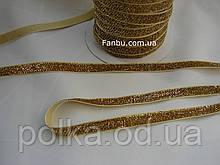 Тесьма бархатная,блестящая с люрексом (ширина 1 см) цвет золотой.1уп-50ярдов(45метров)