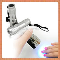 Ультрафиолетовый LED фонарик 9 вт для сушки гель-лака, детектор валют, фото 1