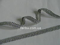 "Тесьма "" косичка шубная""металлизированная,цвет серебро. ширина 1.2см(1 уп-50м)"