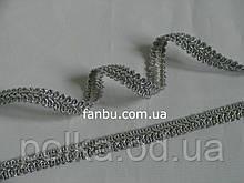 """Тесьма """"шубная""""металлизированная,цвет серебро. ширина 1.2см(1 уп-50м)"""